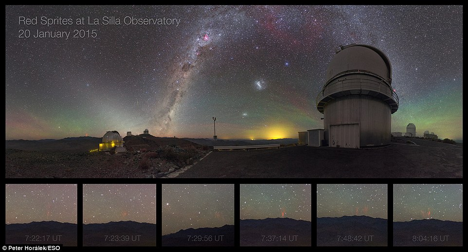 The Small and Large Magellanic Clouds can be seen just to the right of centre of the image and the faint green streak of a meteor just to the left of the Milky Way.These striking heavenly regulars are eclipsed, however, by the presence red sprites (bottom left of the main image). The six panels below the main image magnify a series of red sprites which were caught a few hours before daybreak