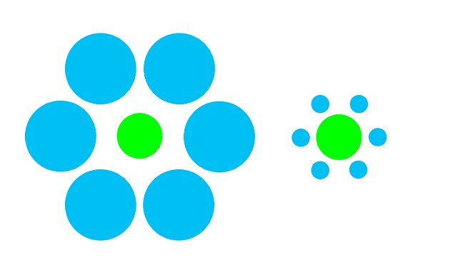 In the famous Ebbinghaus trick, the green circle on the right appears larger than the one on the left, but both are in fact the same size. Despite knowing this, the surrounding blue circles distract the brain causing people to see the illusion.  Now researchers have discovered that fish get see the illusion too