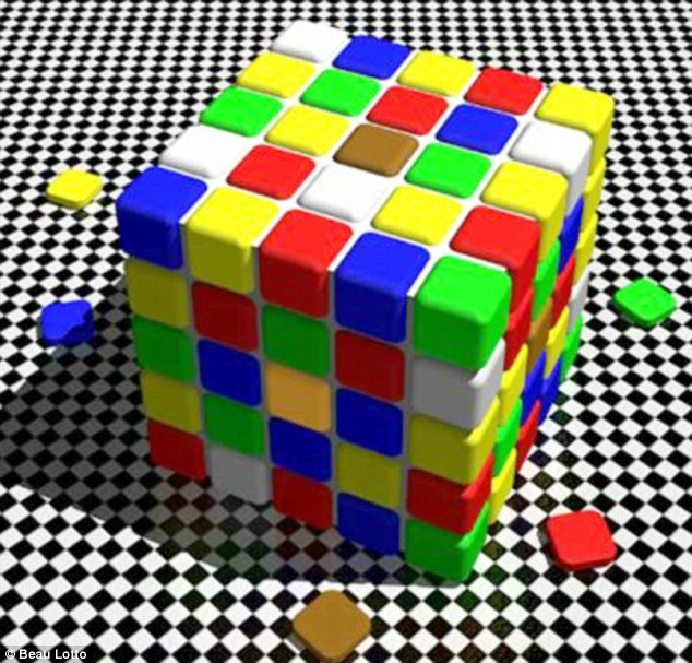 The coloured tiles illusion tricks you into thinking the square on top of the cube is brown whereas the square on the side in shadow is orange. In reality both squaresthe same colour