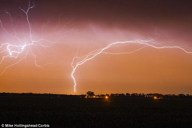 Upwards lightning (stock image shown) is normally caused by a preceding flash moving from the cloud to Earth, and involves a bolt moving from the ground to the clouds. The preceding flash causes an electrical field change, which allows an upward positive leader to originate from a tall object like a building or wind turbine