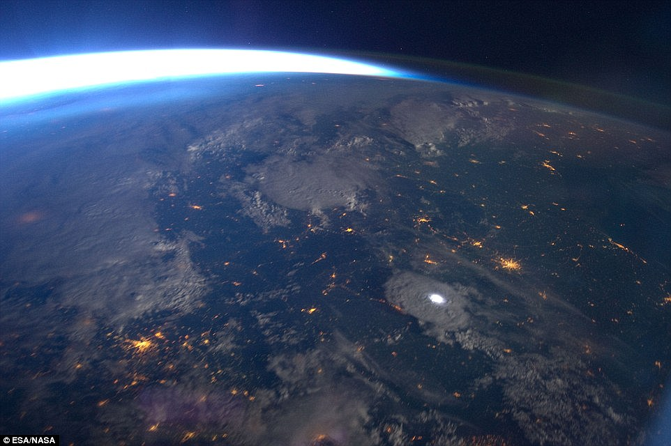 An incredible series of images was captured by astronaut André Kuipers on the ISS on 11 June 2012, during Expedition 31. Lightning was captured over Eastern Romania (shown) at about 8:55pm UTC, and a video was made by stitching together 49 images taken on the ISS while travelling at 17,100mph (27,600km/h)