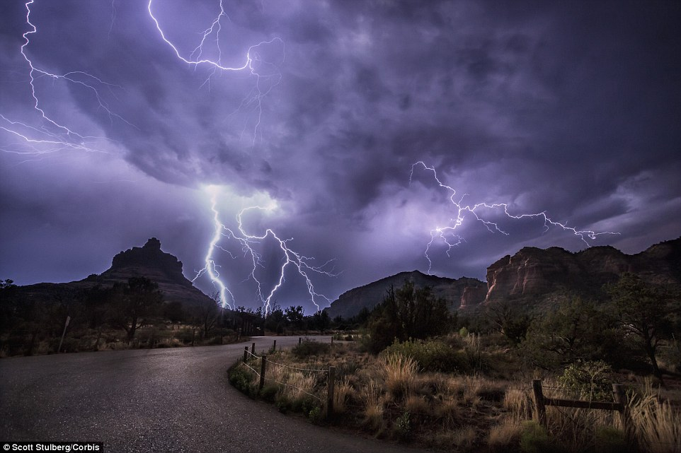 The researchers, pooling seven years of data analysis, found that every day lightning activity on earth peaked at 1900 UTC, with low activity at 0300 UTC every day. Lightning over Sedona, Arizona is pictured