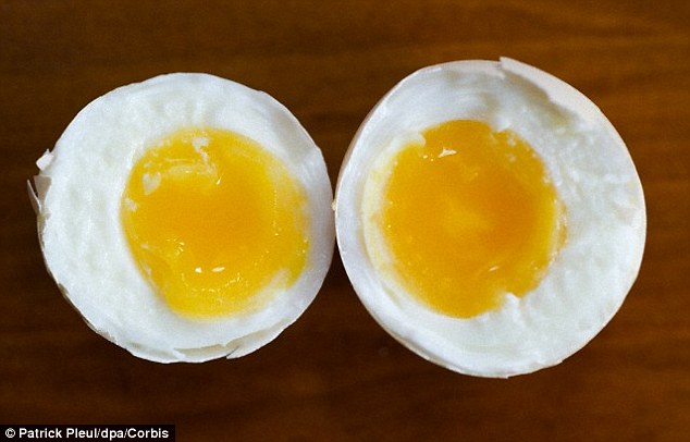 The reason the egg appears inside out is that the yolk is denser, so the centrifugal force moves it to the outside of the albumen when the egg is spun. This can make a change from regular eggs with their white albumen on the outside and yolk on the inside (stock image shown)