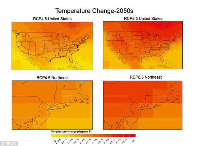 Map of annual temperature changes in the Northeast in 2050. In New York, Nasa predicts annual temperatures will increase 4.1°F to 5.7°F by the 2050s and 5.3°F to 8.8°F by the 2080s