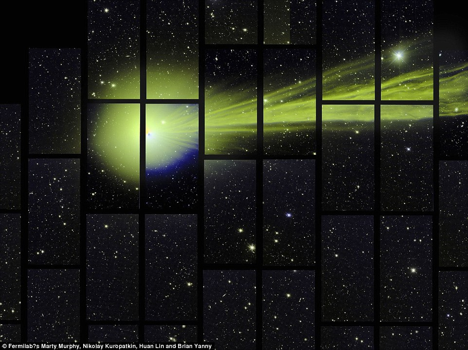 The comet sprung up in a photo snapped taken by the 570-megapixel Dark Energy Camera in December as it was scanning the southern sky. At the time this image was taken, the comet was passing about 51 million miles (82 million km) from Earth. It appeared as a burst of green light against sky full of stars. Each of the rectangles represents one of the 62 individual fields of the camera