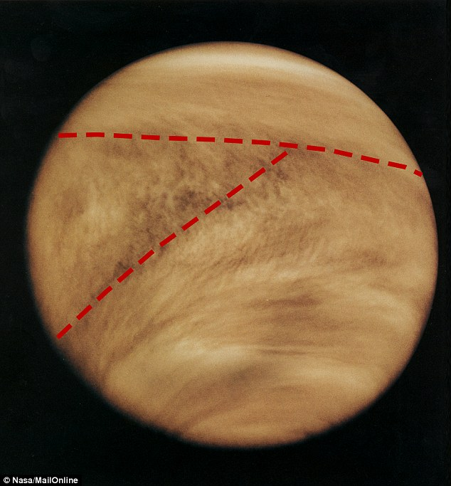 Spanish astronomers have revealed a new theory for a 'Y' shape on Venus (annotated image from the Pioneer Venus Orbiter in 1979 shown). They say it is formed by winds pushing a 'wave' of clouds on the planet. These winds move faster at higher altitudes, creating the odd shape