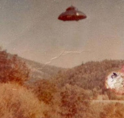 This image shows a picture of a UFO taken somewhere in the United States on June 10, 1964, and was discovered in an attic a number of years later