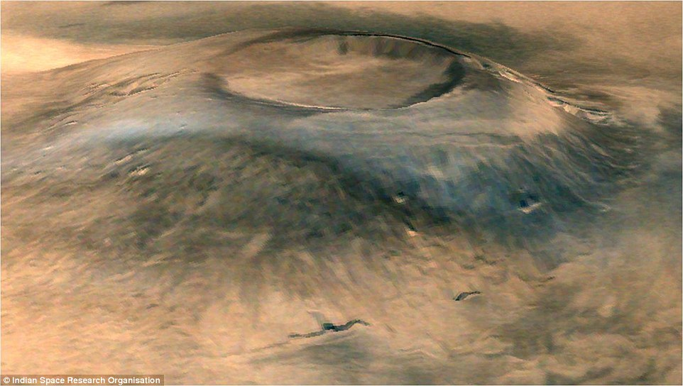 The Indian Space Research Organisation (ISRO) has released amazing images from its Mars Orbiter Mission (Mom). Among them is this 3D view of Arsia Mons, a huge dormant volcano on the surface of the planet. Volcanic deposits can be seen on its flanks