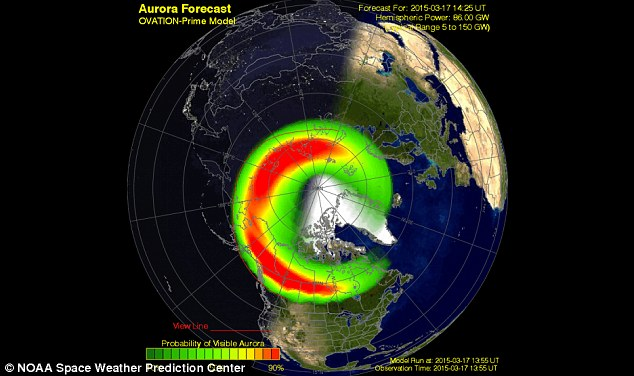 Where the Aurora could be seen: Forecasters said early Tuesday, before sunrise, auroras were already seen in the northern tier of the U.S., such as Washington state, North Dakota, South Dakota, Minnesota and Wisconsin.
