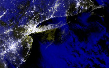 Composite image of the northeast United States during an energy blackout.
