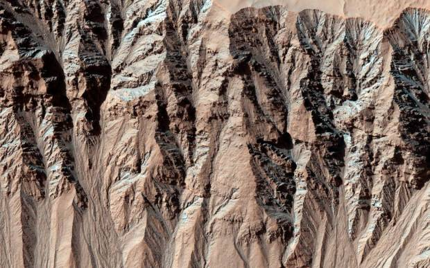 This image of the surface of Mars covers a location that has been captured several times by the HiRISE camera aboard NASA's Mars