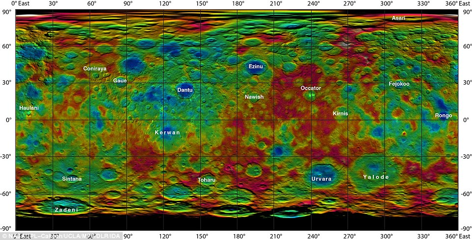 This colour-coded map from Nasa's Dawn mission shows the highs and lows of topography on the surface of dwarf planet Ceres. It is labeled with names of features approved by the International Astronomical Union. Occator, the mysterious crater containing Ceres' mysterious bright spots, is named after the Roman agriculture deity of harrowing, a method of leveling soil