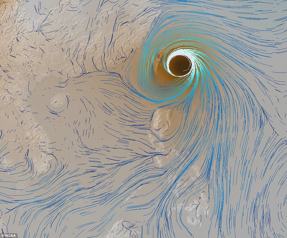 The map clearly shows Typhoon Soudelor, which has hit Taiwan and is making its way to south eastern coast of China in the coming hours. Fierce winds from the storm has already caused the death of two people as they were swept up by raging waves