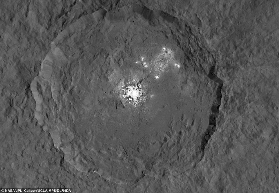 This previous image, made using images taken by NASA's Dawn spacecraft, shows Occator crater on Ceres, that home to a collection of intriguing bright spots.