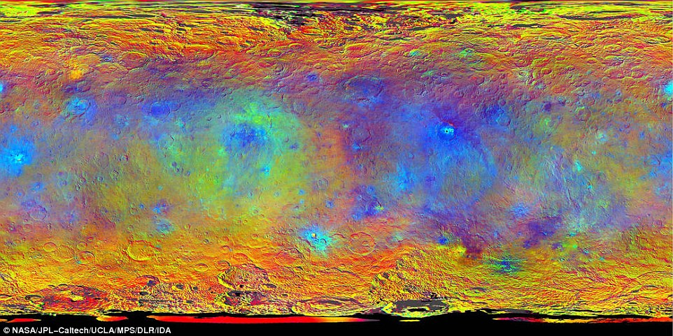 This map-projected view of Ceres was created from images taken by NASA's Dawn spacecraft during its high-altitude mapping orbit, in August and September, 2015. Images taken using infrared (920 nanometers), red (750 nanometers) and blue (440 nanometers) spectral filters were combined to create this false-color view. Redder colors indicate places on Ceres' surface that reflect light strongly in the infrared, while bluish colors indicate enhanced reflectivity at short (bluer) wavelengths; green indicates places where albedo, or overall brightness, is strongly enhanced. Scientists use this technique in order to highlight subtle color differences across Ceres, which would appear fairly uniform in natural color.