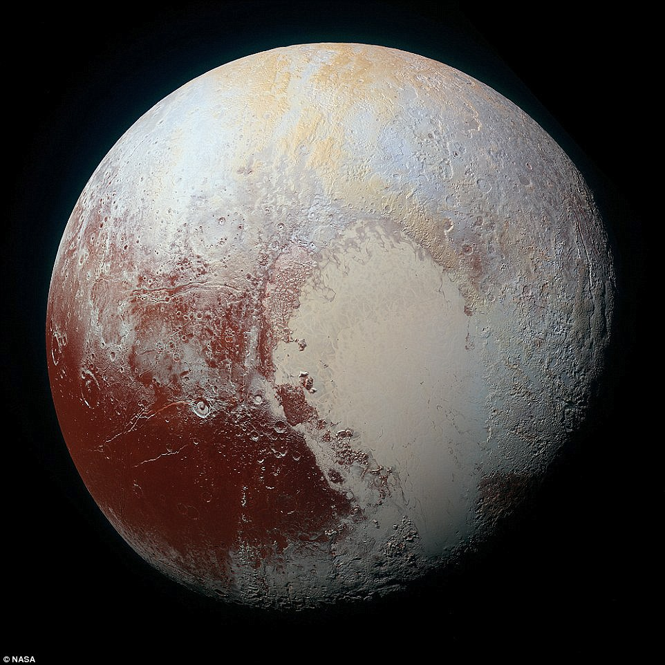 The discovery of red water ice has also excited astronomers, as it adds to the theory that Pluto has a liquid sea under its surface that could host life. Pictured is one of the first high-resolution colour images of the dwarf planet, released by Nasa last month