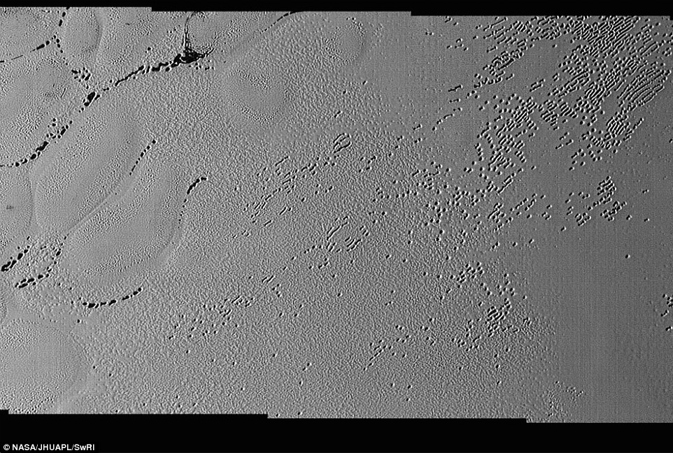 Each of the pits and troughs – typically hundreds of meters across and tens of meters deep – were spotted in the area, informally known as Sputnik Planum.