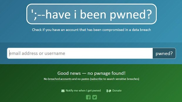 It the email address is not found on any pwned sites, the screen will turn green (pictured). Users of the site can choose to sign up to be notified if their email address ever appears online