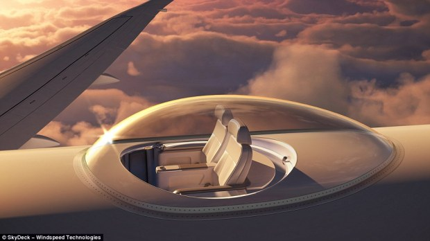 Passengers on board jets may soon have a new way to pass long journeys - a glass SkyDeck area that would offer 360-degree views of the outside world