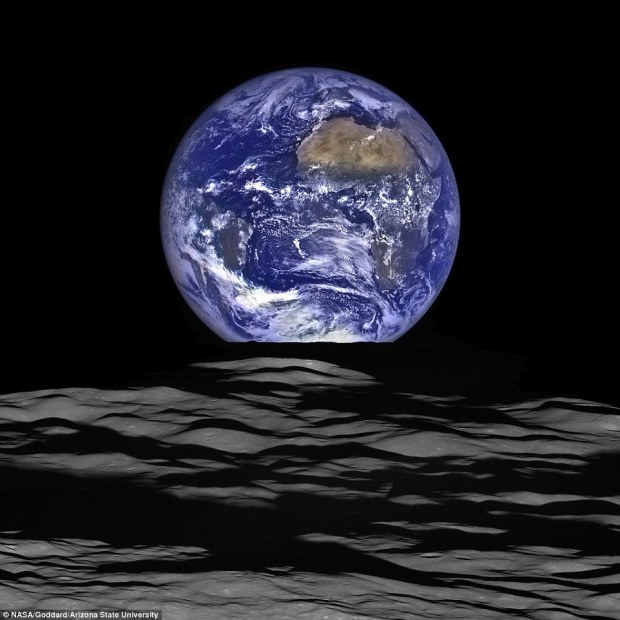Nasa's Lunar Reconnaissance Orbiter (LRO) captured the unique view of Earth from the spacecraft's vantage point in orbit around the moon.