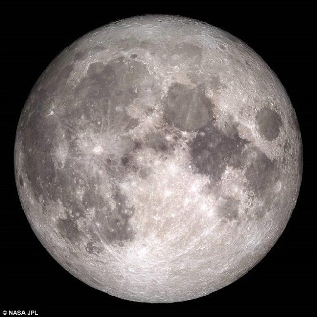 December's full moon is called the Full Cold Moon because it occurs at the start of winter and it will peak at 06.11 EST (23.11GMT Christmas Eve). Nasa released this image of how the moon will appear on Christmas Day. The last time a full moon dawned on Christmas was in 1977, and it won't happen again until 2034