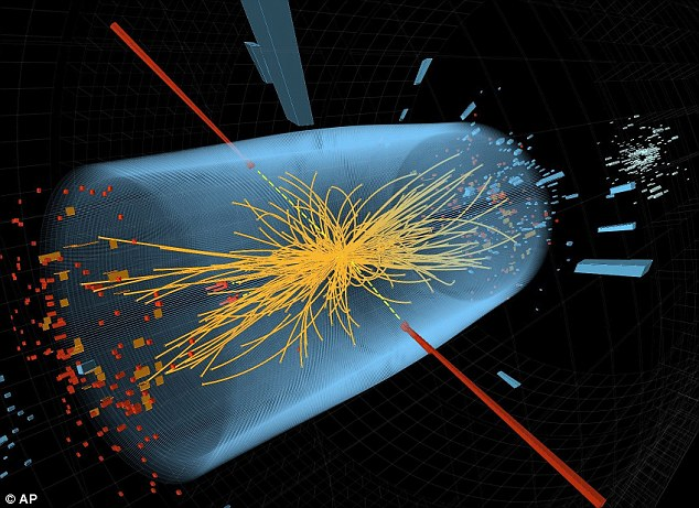 Two of the detectors, ATLAS and CMS, were searching for new physics by counting particle decays that ended up in two photons, and found a potential new particle. If it turns out to be real, and not a blip, this would be a huge discovery. Two high-energy photons whose energy, shown in red, was measured in the CMS is illustrated