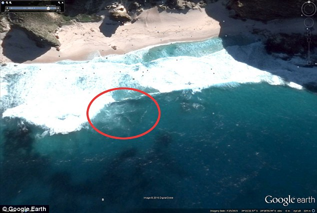 A UFO hunter claims to have found the missing MH370 plane in an eight-month-old Google satellite image.Scott Waring believes an outline of a Boeing 777 can be seen beneath the water off the coast of Cape Town in South Africa