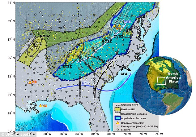 Researchers believe the quakes could be caused by pieces of the Earth's mantle breaking off and sinking into the planet in the affected area (shown here). They saypieces of the mantle have most likely been breaking off from underneath the plate since at least 65 million years ago. This map shows the study area in detail.