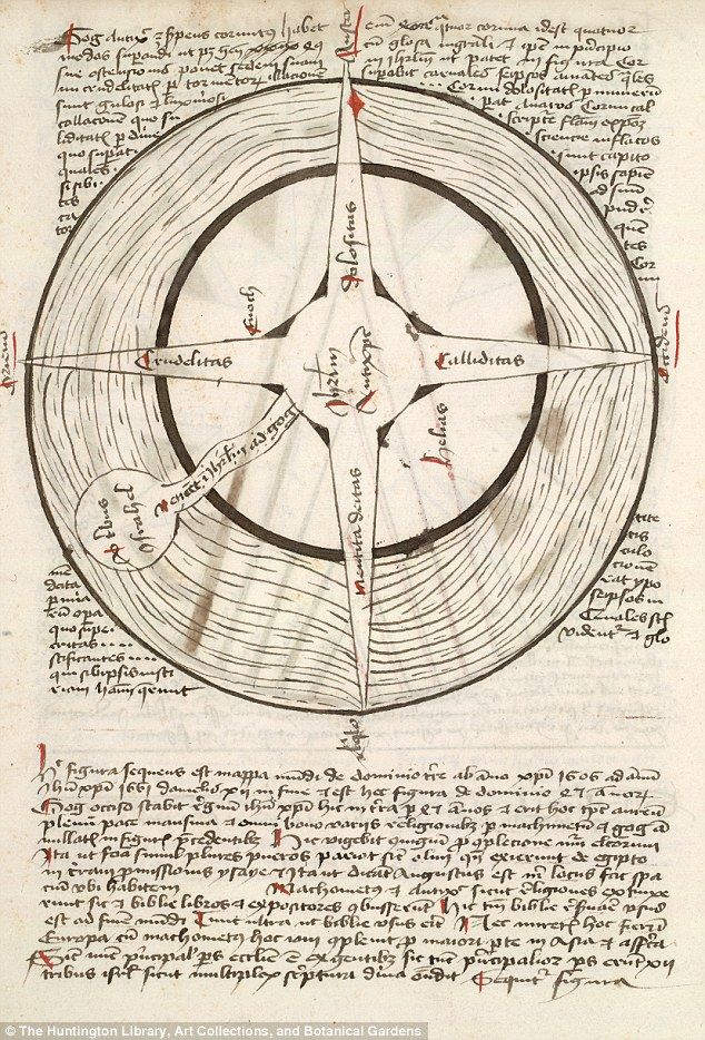 A separate map says an Antichrist will reign from 1600 to 1606. Pictures show his massive four horns that reach to the Ends of the earth, which signify the ways he will convince people to follow him: deceit, cunning, cruelty and imitation of the Deity, which means pretending to be the Christian God