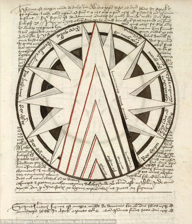 The author remains unknown, but some speculate it was a well-educated doctor known as Baptista, as there is a section on astrological medicine in the eerie text that was ahead of its time. A separate map shows the rise of the Antichrist 1570 to 1600, which is represented by the triangles in the map.