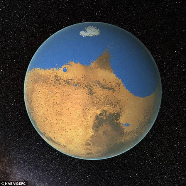Our neighbouring planet Mars could have been covered in vast salty oceans (artist's impression pictured). According to a new study, a pair of meteor impacts several million years apart caused two mega tsunamis on the red planet - providing more evidence early Mars could have supported life