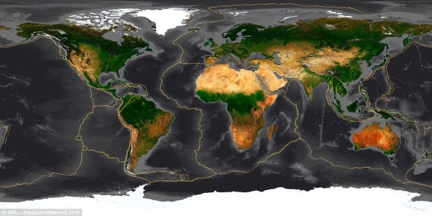 The Earth has fifteen tectonic plates (pictured) that together have molded the shape of the landscape we see around us today