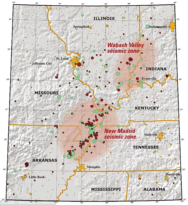 The New Madrid Seismic Zone is 150 miles long, and experts say a quake would impact seven states - Illinois, Indiana, Missouri, Arkansas, Kentucky, Tennessee and Mississippi.