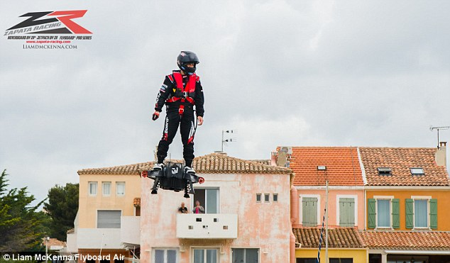 Last month, Franky Zapata stunned the world by revealing his jet powered 'hoverboard' that could travel at 90mph (150km/h). Now, the French jet ski champion has gone one better by smashing the world record for the farthest flight on a hoverboard