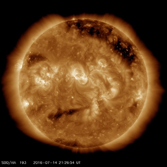 The sun seems to be making a nervous face in this image, which was captured on July 14, 2016 by NASA's Solar Dynamics Observatory spacecraft.