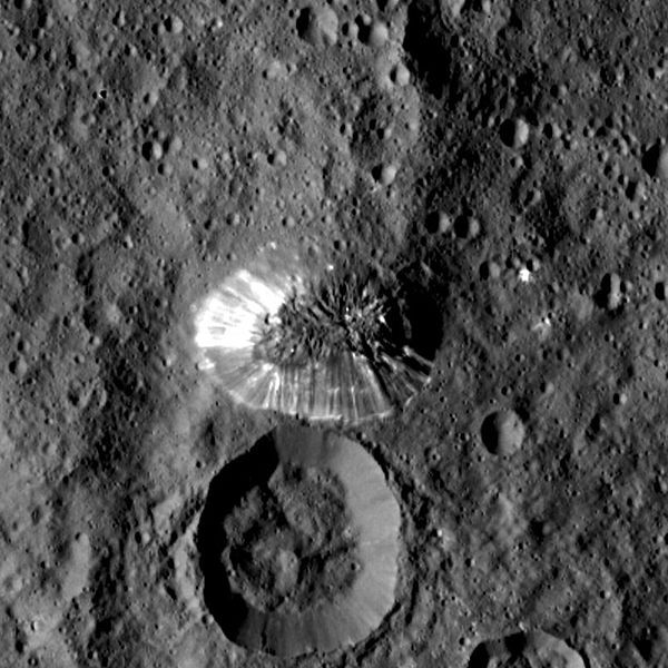 Lone conical mountain on Ceres from HAMO