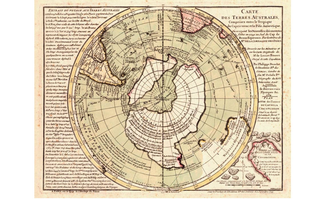The original & more frequently encountered version of the Buache Map, which does not show Antarctica.