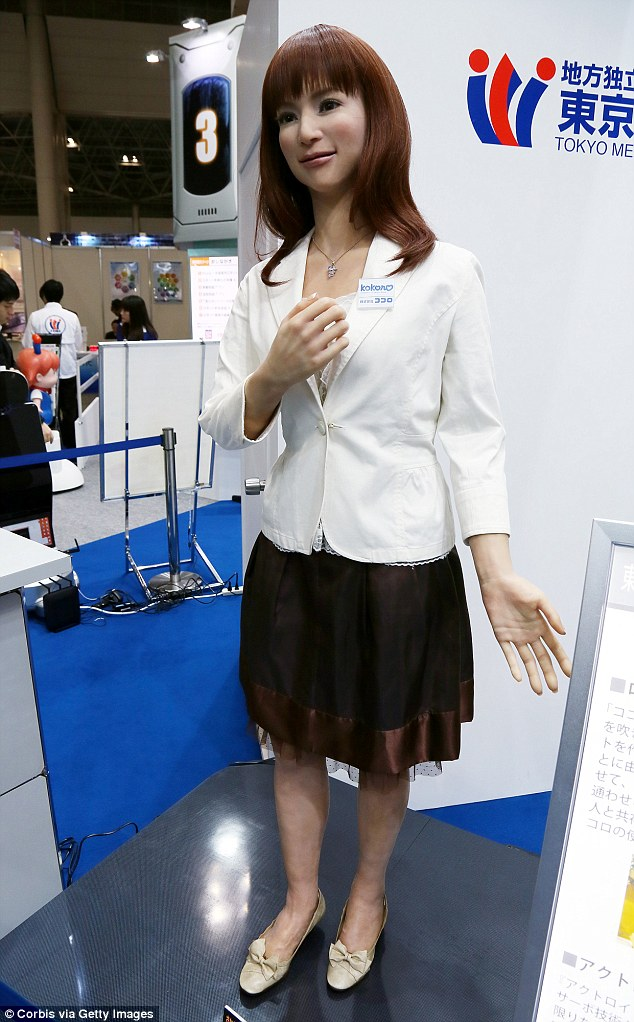 Kokoro, the Actroid humanoid robot, was on show at the International Robot Exhibition in Tokyo
