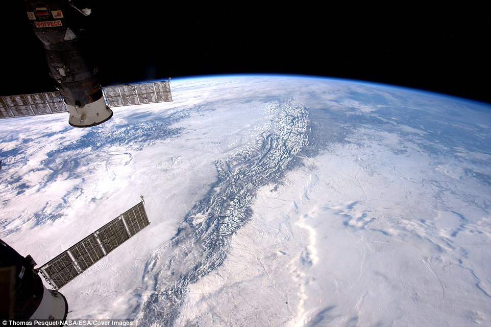 French astronaut Thomas Pesquet has taken some spectacular photos of Earth from space. He recently tweeted a photo of the Rocky Mountains and said: 'The Rocky Mountains are a step too high - even for the clouds to cross.'