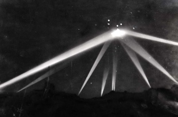 Feb. 25, 1942. Retouched version of searchlight photo after work by Los Angeles Times artists. The bottom part of the image was painted black. The searchlights were lightened with white paint.  This version is from a copy negative made at unknown date from retouched print.  The neg is now in the Los Angeles Times Photographic Archive at UCLA.