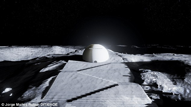 The European Space Agency says the 50m high dome, close to a planned moonbase near to the moon's south pole, would give the first settlers 'a place of contemplation'.