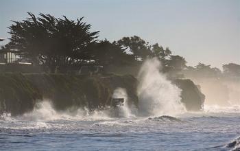 Big waves affect beach access and ocean bluffs at the Isla Vista, California study site.