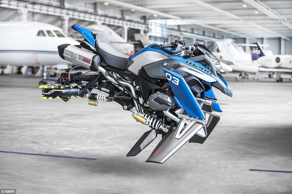 Designers from BMW have brought a Lego model to life, creating a concept vehicle for a flying motorbike called the Hover Ride. The vehicle is a concept and does not really fly