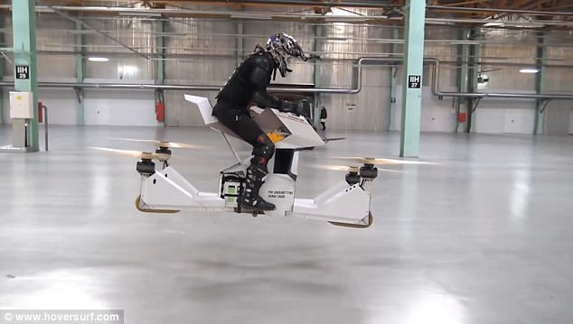 Footage captures the world's first hoverbike being tested in a warehouse by Hoversurf, a tech company based in San Francisco