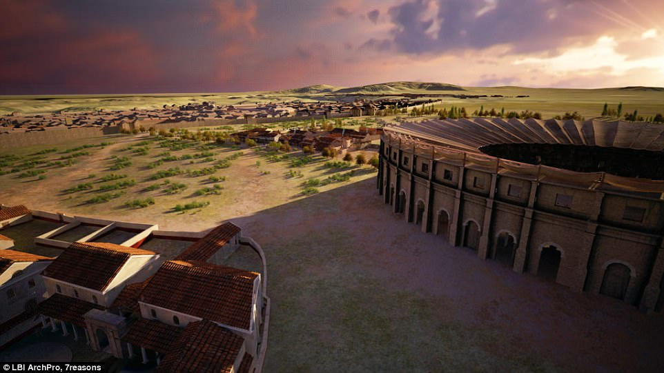 Without any excavations, the project has revealed the entire city area next to the amphitheatre, containing bakeries, taverns and shops