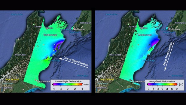 Two ALOS-2 satellite images show ground displacements from the Nov. 2016 Kaikoura earthquake