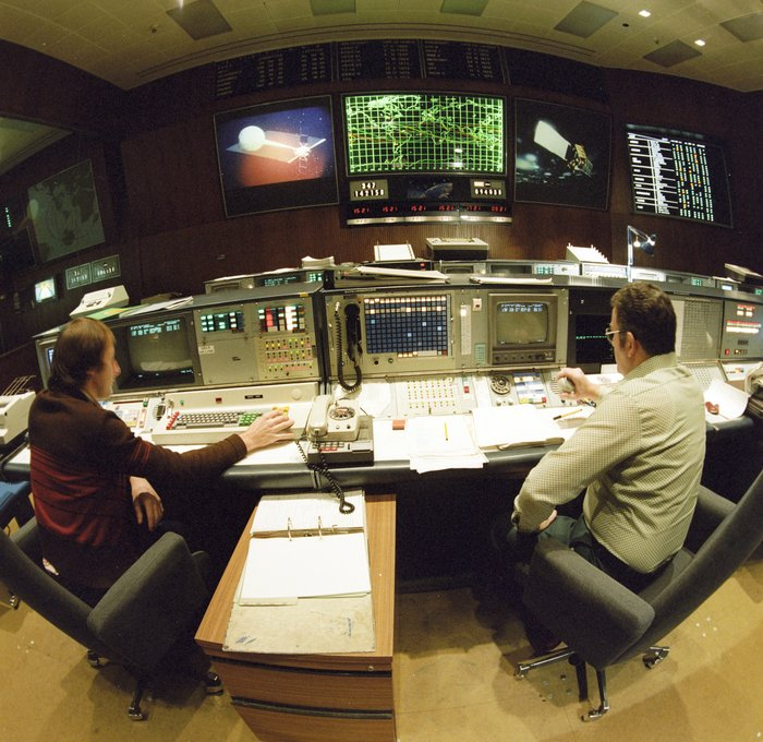 Control room at ESOC, ESA's European Space Operations Centre, in December 1978