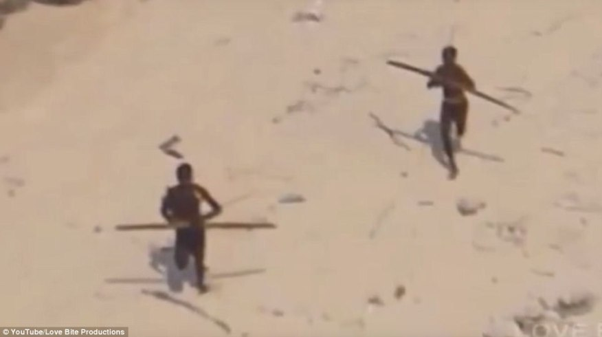 Rare footage (pictured) has emerged of the indigenous Sentinelese tribe, located on North Sentinel Island in the Indian Ocean