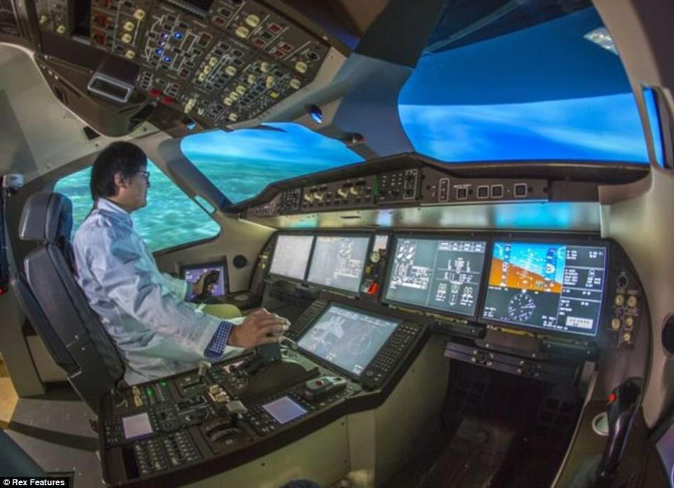 The single-aisle aircraft has been billed as China's answer to Boeing 737 and Airbus 320 as the nation aims to raise its profile in the global aviation market. A view from inside the cockpit of China's new COMAC C919 aircraft