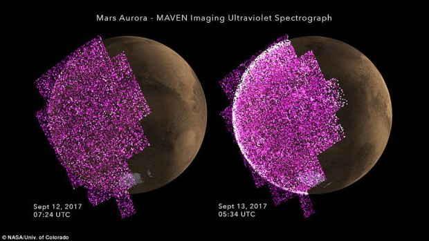 These images show the sudden appearance of bright aurora on Mars during a solar storm. The purple-white color scheme shows the intensity of ultraviolet light given off by aurora on Mars's night side before (left) and during (right) the event. A simulated image of Mars for the same time and orientation has been added, with the dayside crescent visible on the right. The auroral emission appears brightest at the edges of the planet where the line of sight passes along the length of the glowing atmosphere layer. The Imaging UltraViolet Spectrograph on the MAVEN spacecraft obtained these images on 12-13 September 2017.